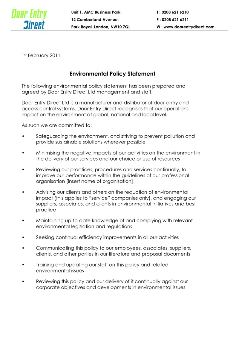 Environment Statement and Policy