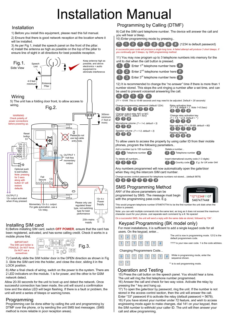 Aes Installation Instructions Telephone Intercom Wiring Diagram Gsm 3b 3bk Manual