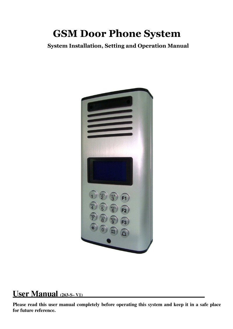 AES GSM Door Phone user manual