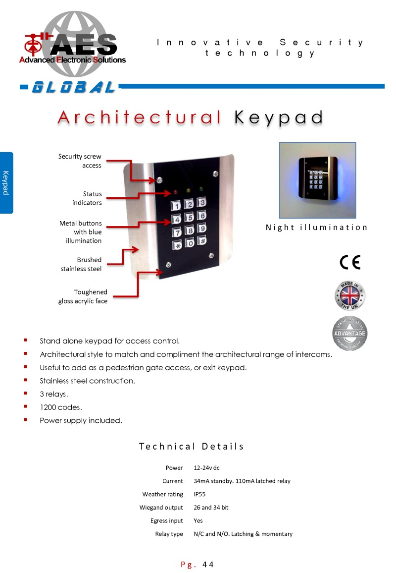 AES Architectural keypad brochure