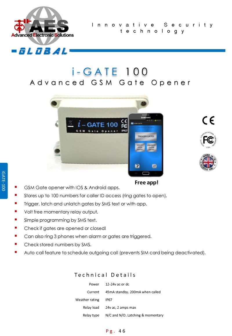 AES I-GATE 100-Plus| GSM Gate Opener for up to 100 Users