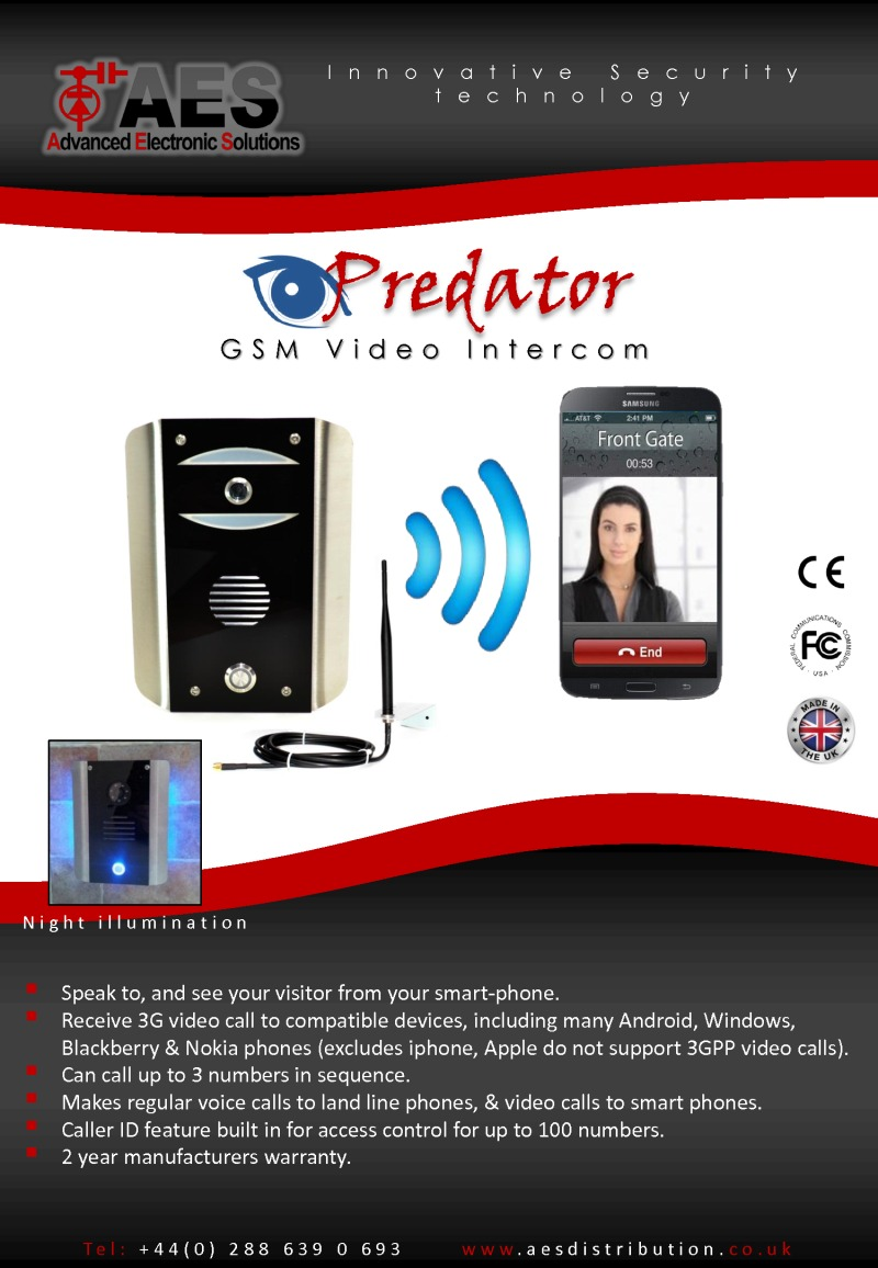 1 button Video GSM system with keypad