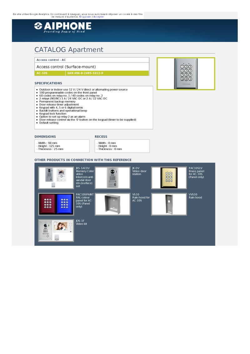 Aiphone AC-10S Access control keypad data sheet