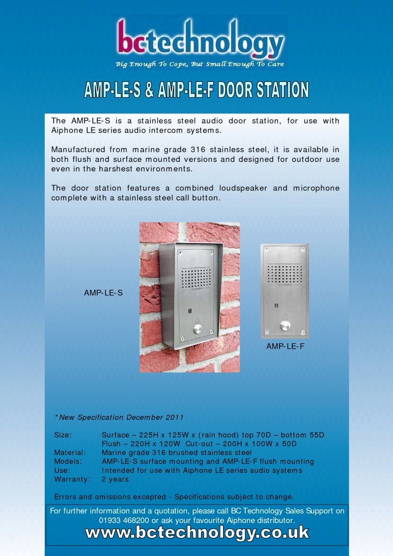 Aiphone AMP-LE door entry panel