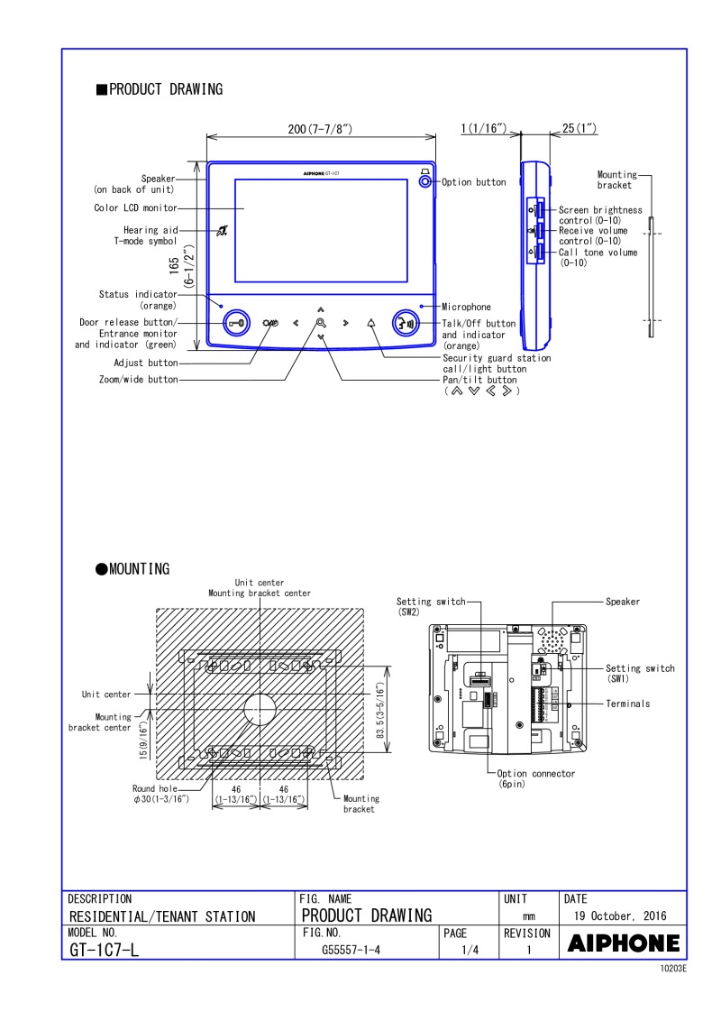 Aiphone GT-1C7-L Specification Sheet