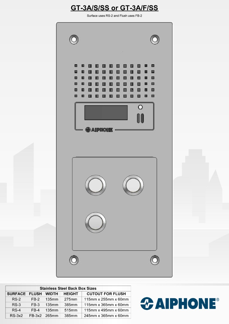 Aiphone - 3 Way Surface Stainless Steel Audio Entry Panel
