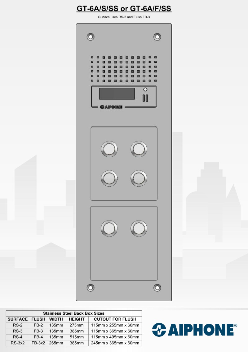 Aiphone - 6 Way Surface Stainless Steel Audio Entry Panel