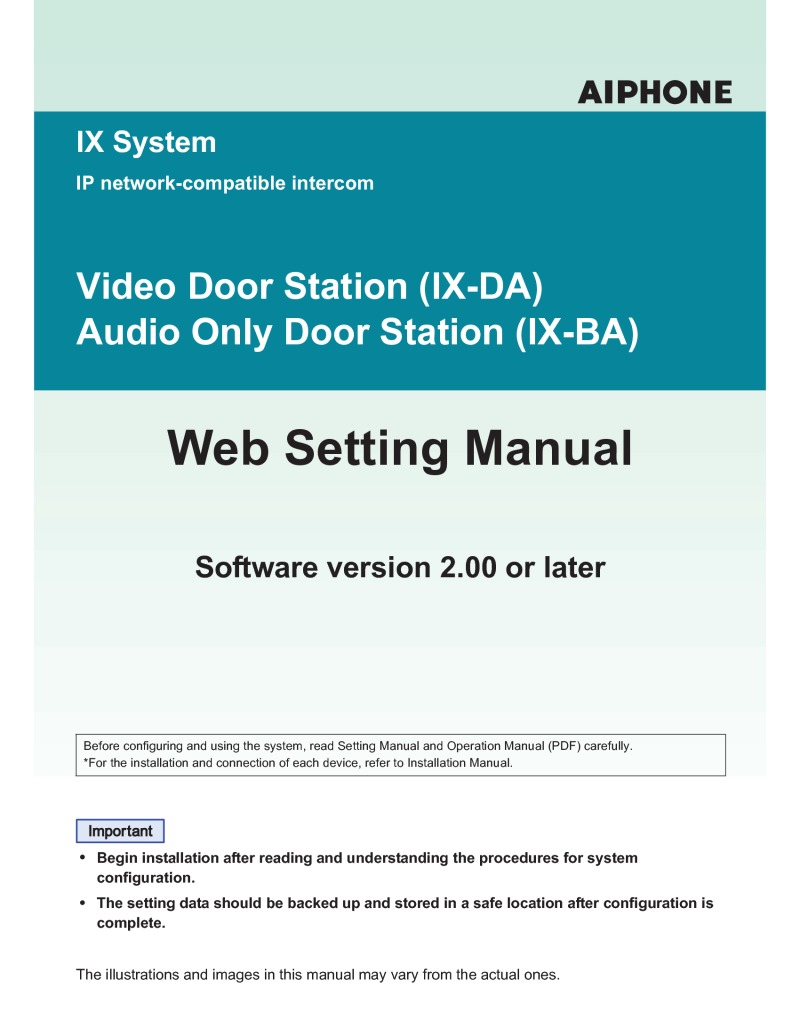Aiphone - IX-DA - Web Setting Manual - Oct 2017