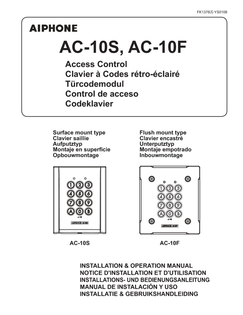 Aiphone AC-10S Instructions