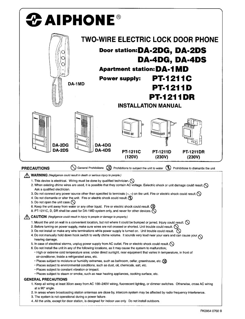 Aiphone DA Series Installation instructions