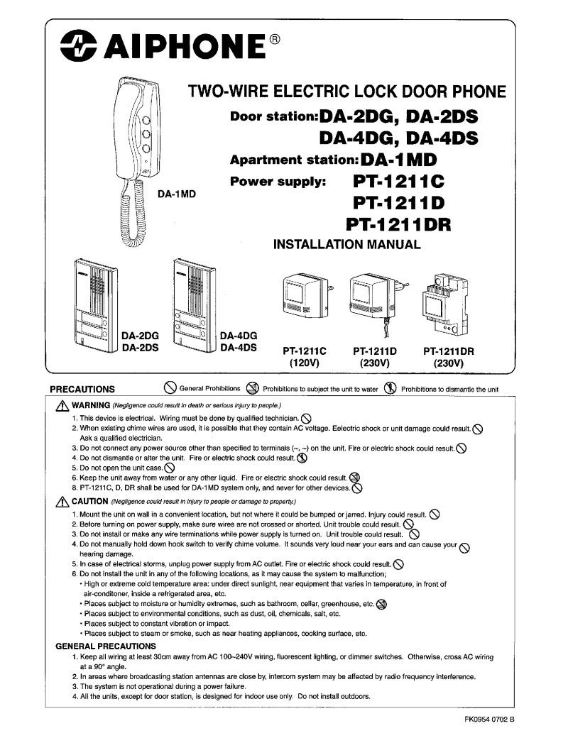 Aiphone Installation Instructions Wiring Diagram Gf Da Series