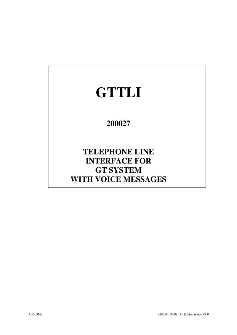 Aiphone GTTLI Installation instructions