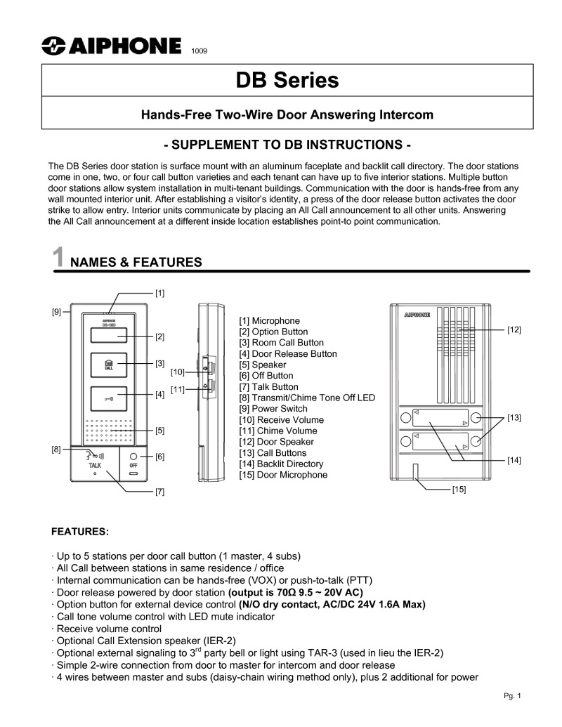 DB instructions aiphone dbs 1ap 1 way door entry kit with surface panel aiphone da-1ds wiring diagram at gsmx.co
