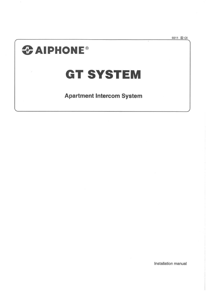 aiphone gt series installation instructions