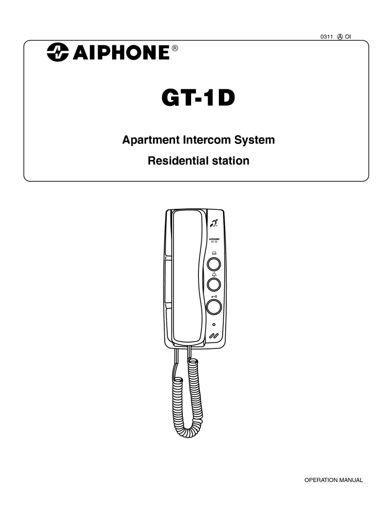 Aiphone GT-1D User manual