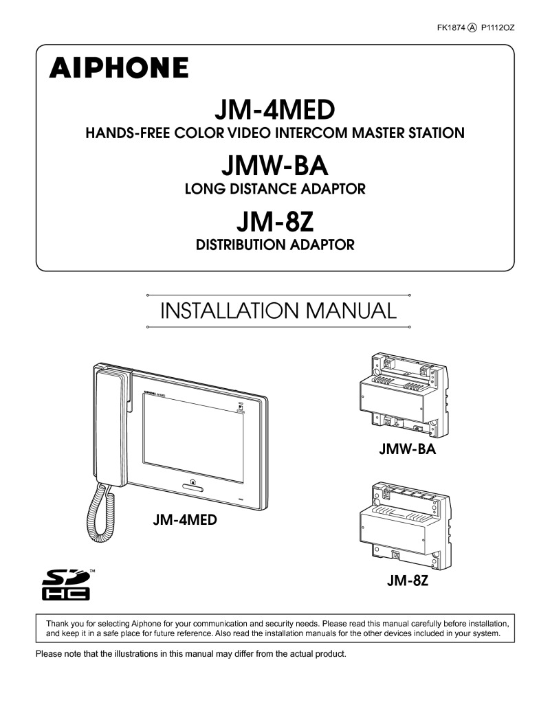Aiphone JM-4MED Operation manual