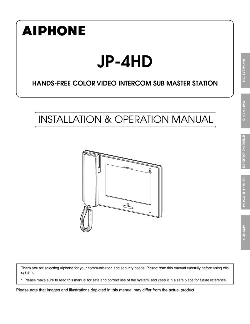 Aiphone JP-4HD Instruction manual