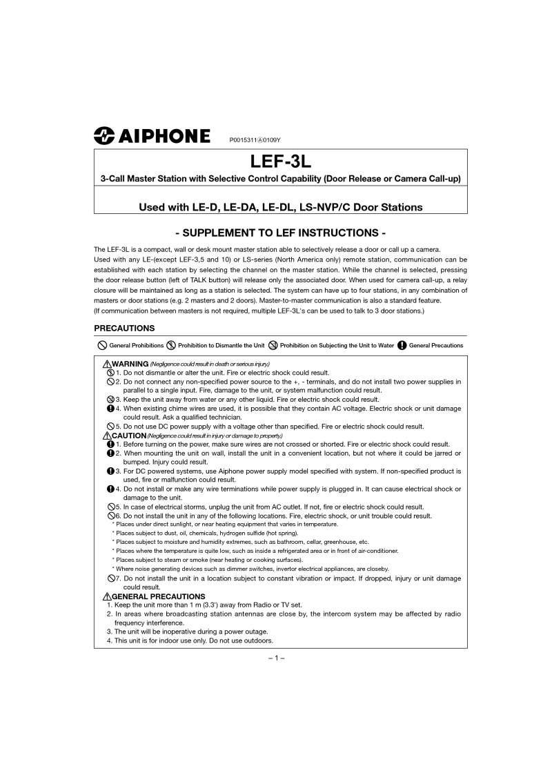 Aiphone LEF-3L and power supply instructions