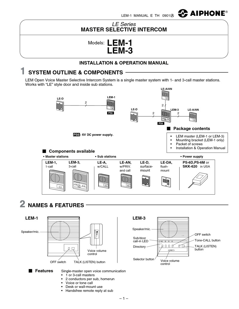 LEM instructions index of acrobat aiphone inst Aiphone Spec-Sheets at crackthecode.co