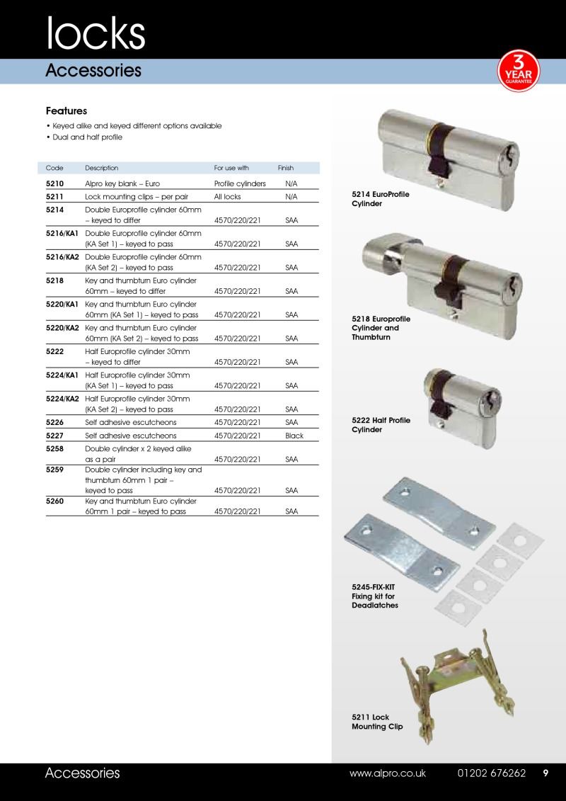 Alpro lock accessories brochure