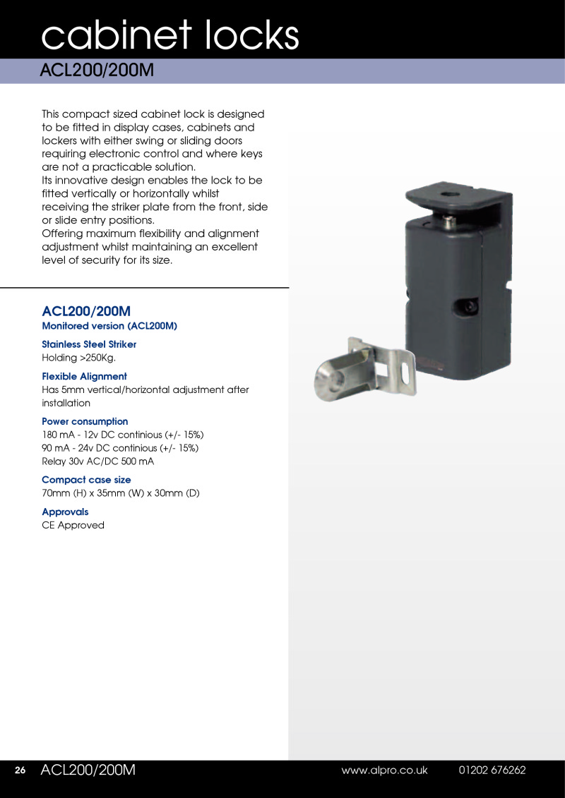 Data Sheet Alpro ACL200 Cabinet Lock