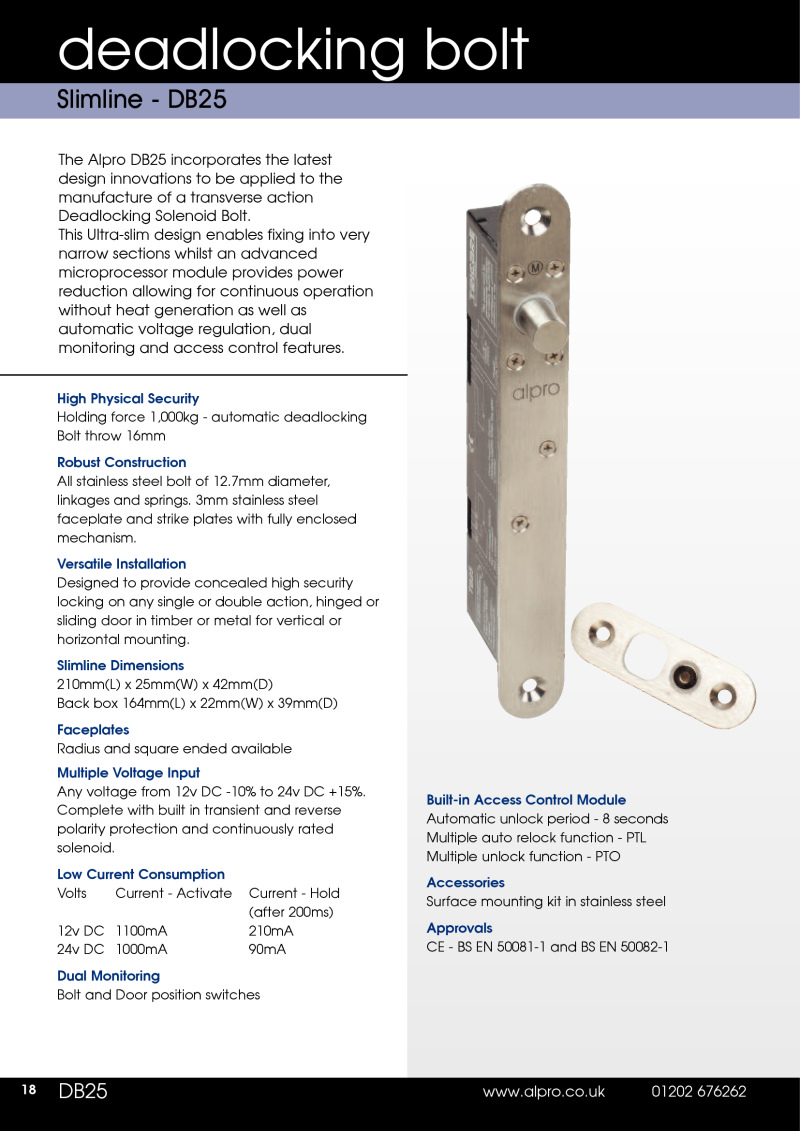 Data Sheet Alpro DB25 and DB25KO Deadlocking Bolt