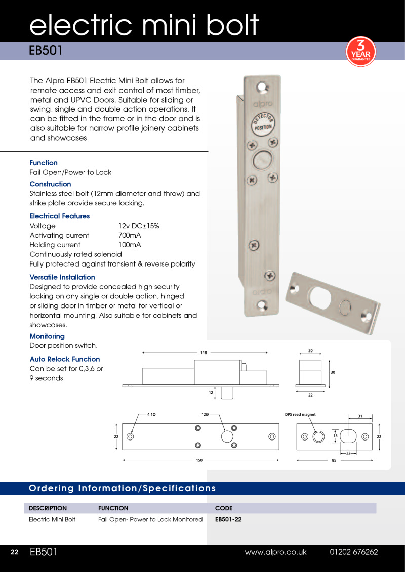 Data Sheet Alpro EB501 Mini Electric Bolt