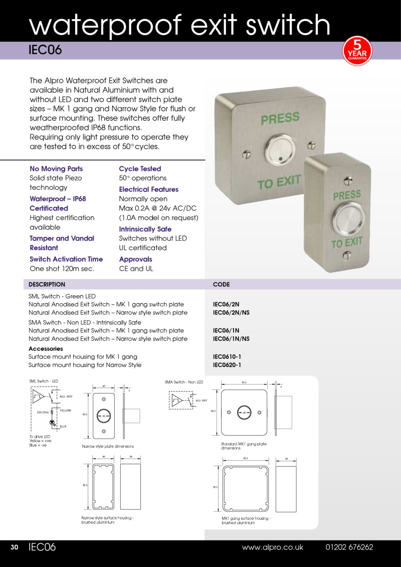 Data Sheet Waterproof Exit Switches