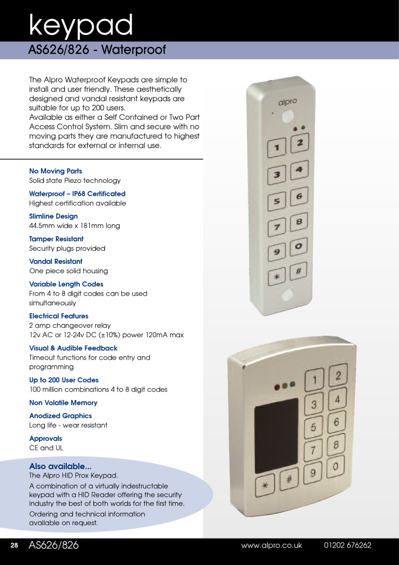 Data Sheet Alpro AS626 Waterproof Keypads