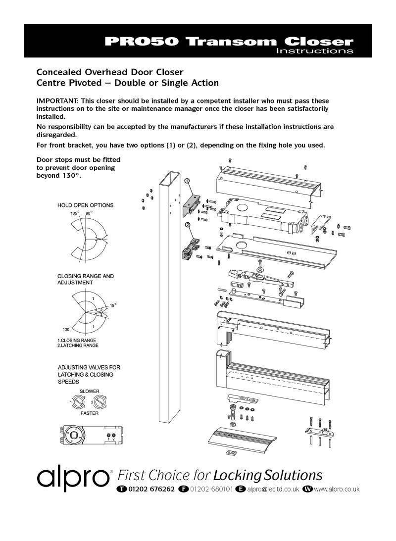 Transom closers instructions
