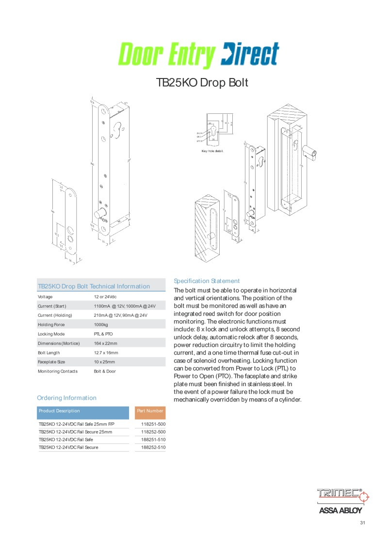 Trimec TB25KO Technical Sheet