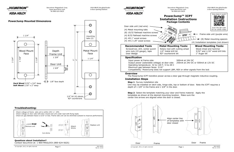 ASSA ABLOY installation instructions for Art.Powerjump ICPT