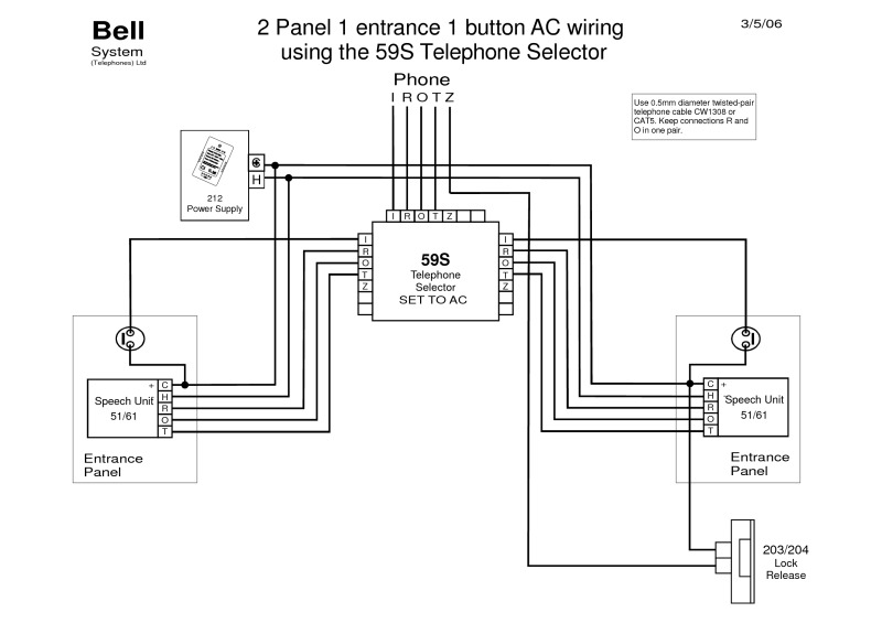 2 Panel 1 Entrance AC Wiring with 59S (PD 138 Iss 1) bell wiring diagrams disabled toilet alarm wiring diagram at creativeand.co