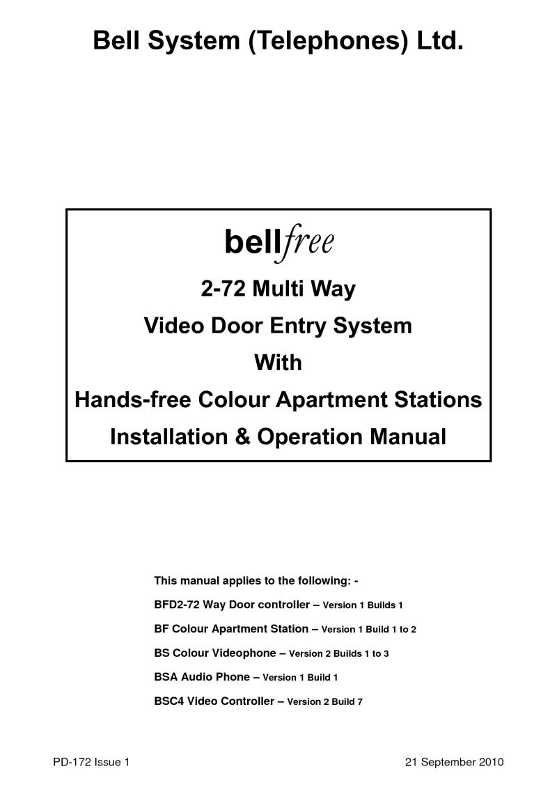 Bell Bstl Bf8s 8 Button Bellfree Vr Surface Colour Video Entry Kit