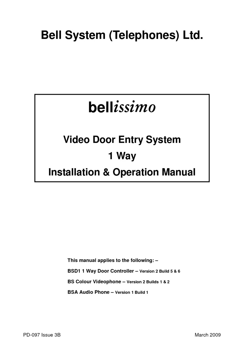 Bell Bstl Bs1 01 Button Bellissimo Ali Surface Colour Video Entry K Wiring Doorbell In Parallel Bs Kit Manual