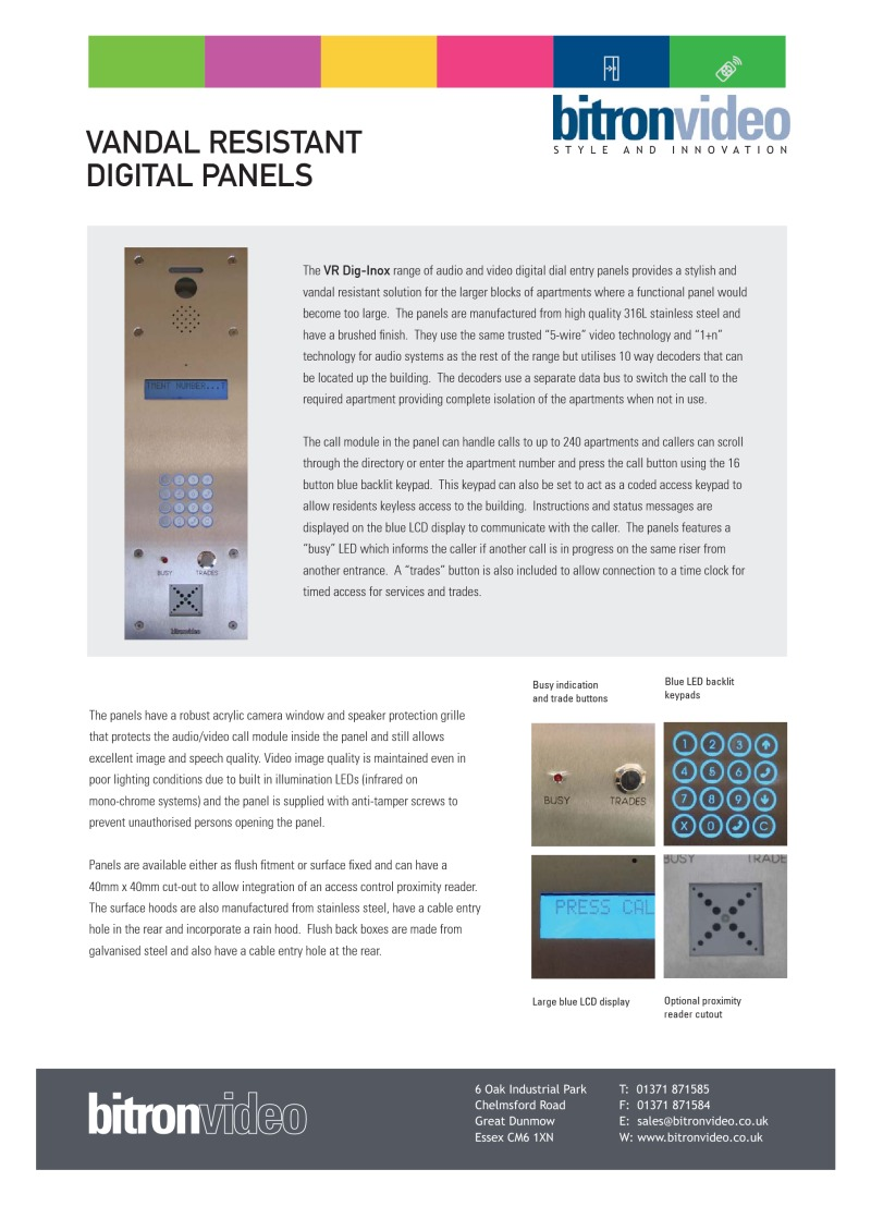 Bitron Brochures Connecting Logisty Daitem Intercoms To Cb1 Control Panel Vandal Resistant Dig Inox Specification Sheet