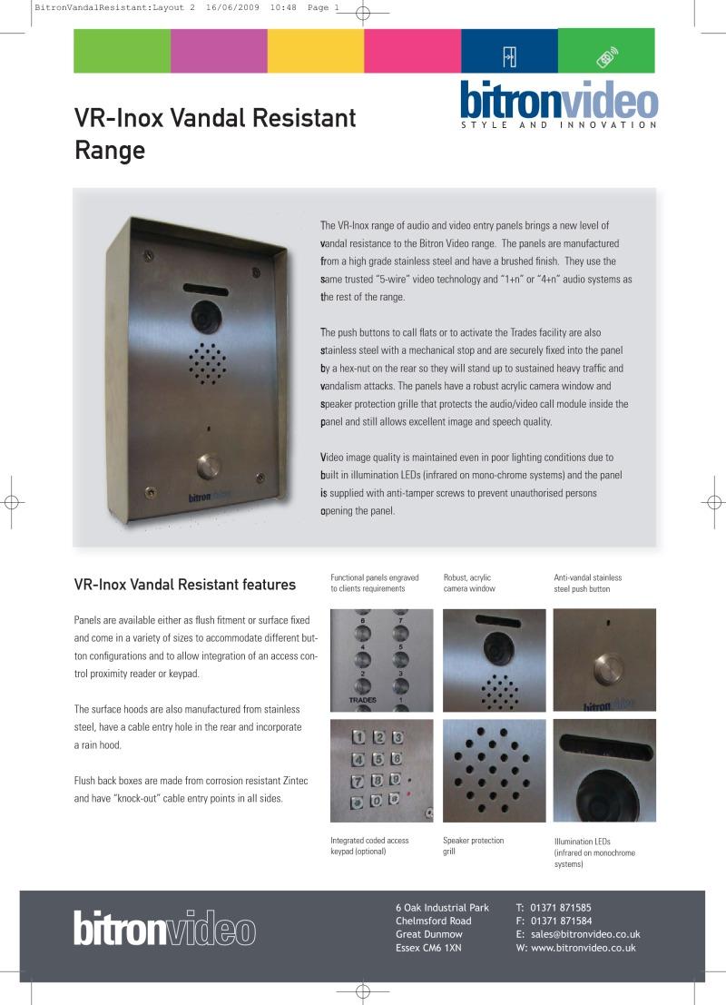 Bitron Brochures Connecting Logisty Daitem Intercoms To Cb1 Control Panel Inox Vandal Resistant Panels Brochure