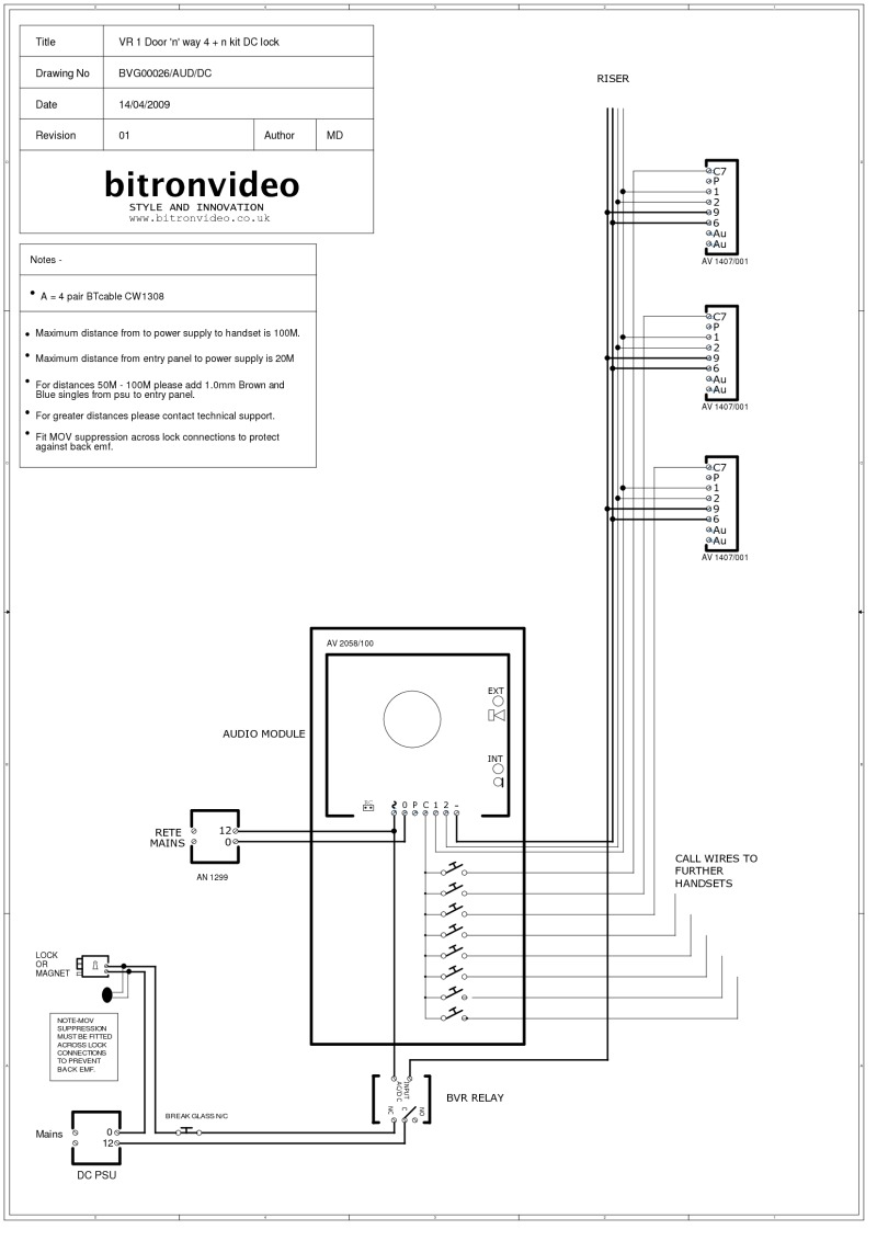 Bitron Wiring Diagrams Electronic Dice Circuit Diagram 4 N Wire Audio System Vandal Resistant Inox Entrance Panel Dc