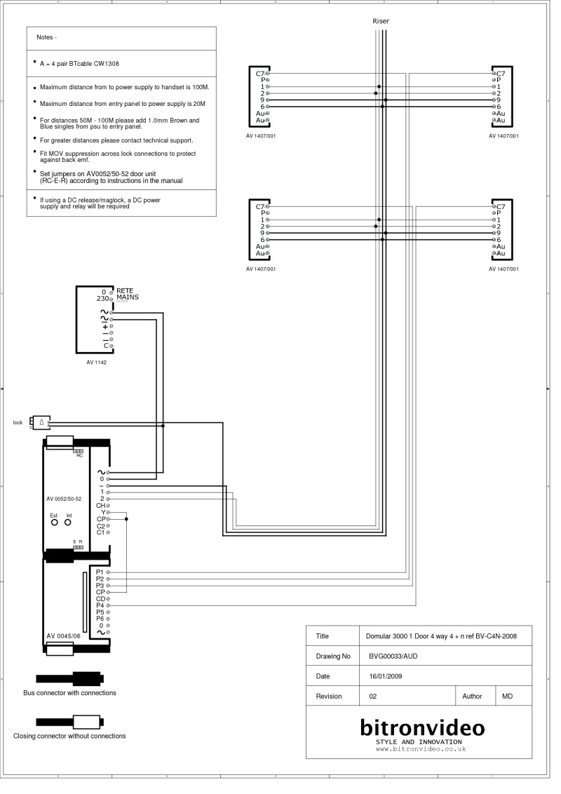 Bitron Wiring Diagrams A Basement Diagram 4 N Wire Audio System Domular 3000 Entrance Panel