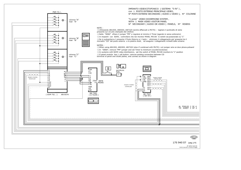 Bitron wiring diagrams bitron 5 wire video 1 main entrance n secondary entrances cheapraybanclubmaster Image collections