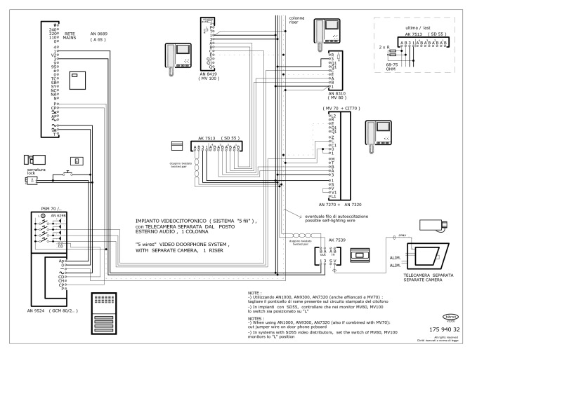 Bitron wiring diagrams bitron 5 wire video 1 main entrance with additional camera cheapraybanclubmaster Gallery