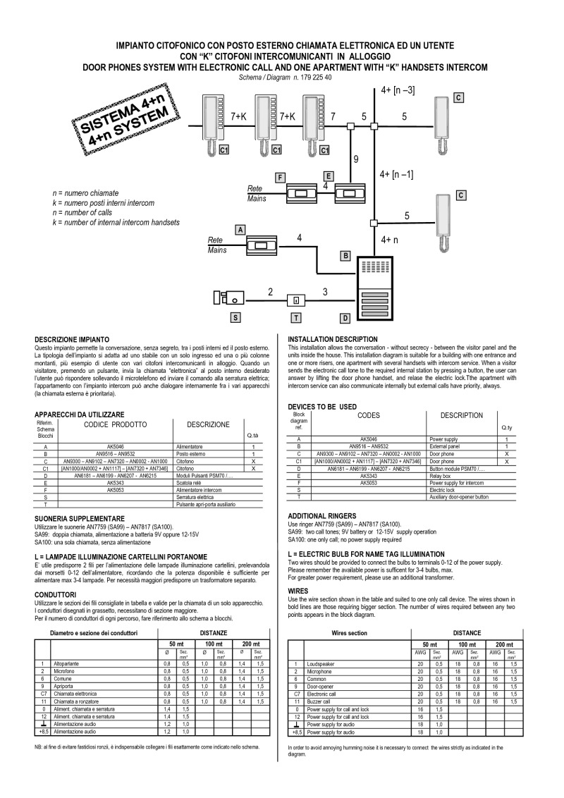Bitron Wiring Diagrams Telephone Intercom Diagram 4 1 Audio Entrance K Phones Local