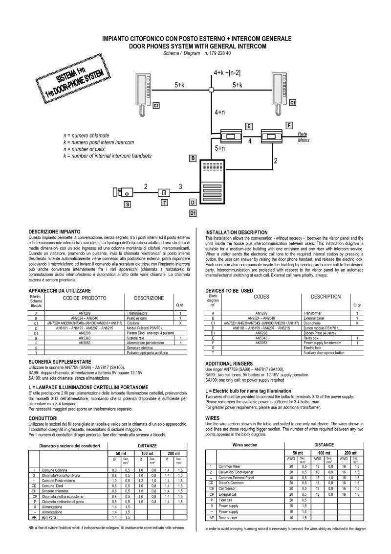 Bitron Wiring Diagrams Telephone Intercom Diagram 1 N Audio Entrance K Phones General