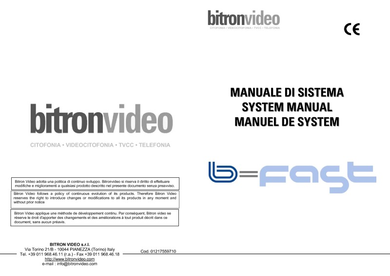 Bitron B=fast General System Manual installation instructions