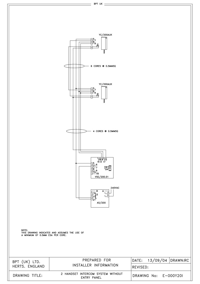 Bpt Wiring Diagrams System 200 Intercom Diagram 2 Handset Without Entry Panel