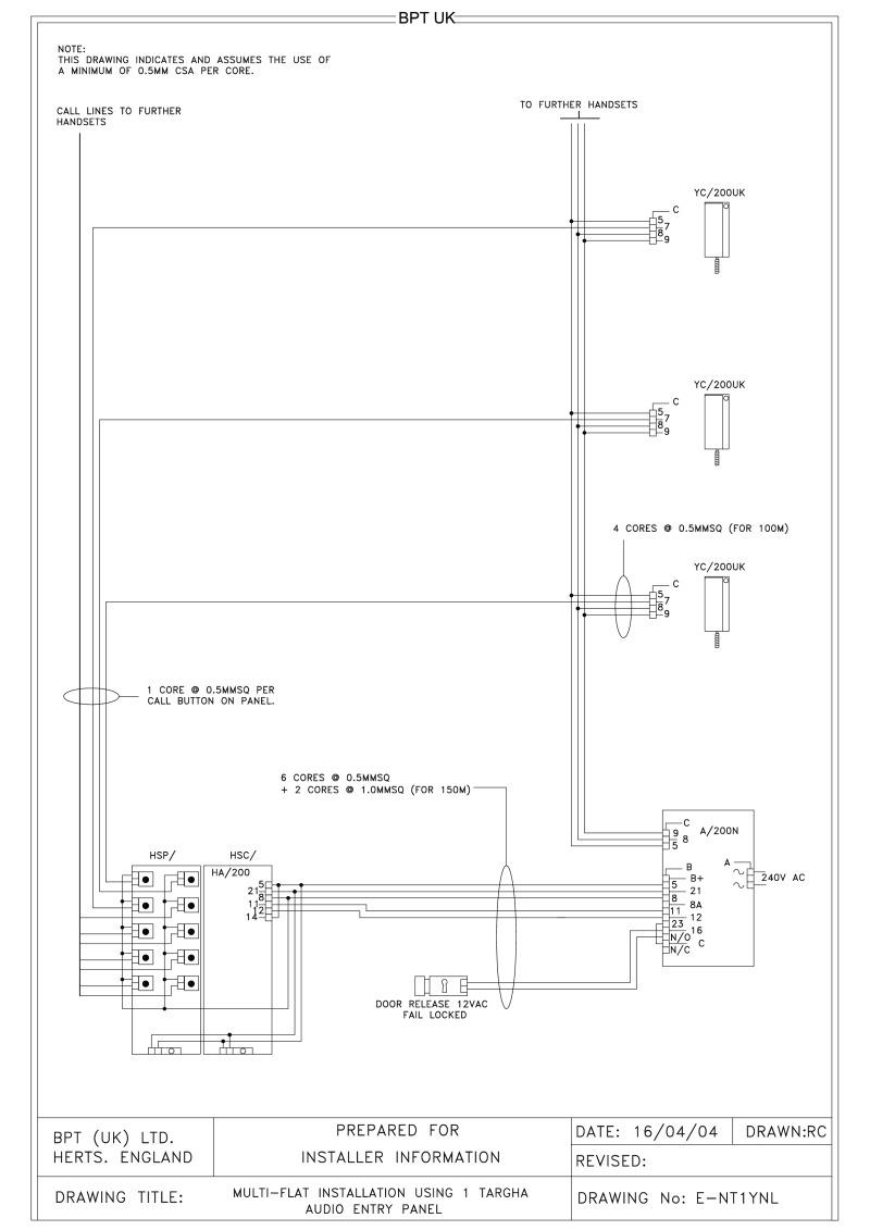bpt wiring diagrams - system 200