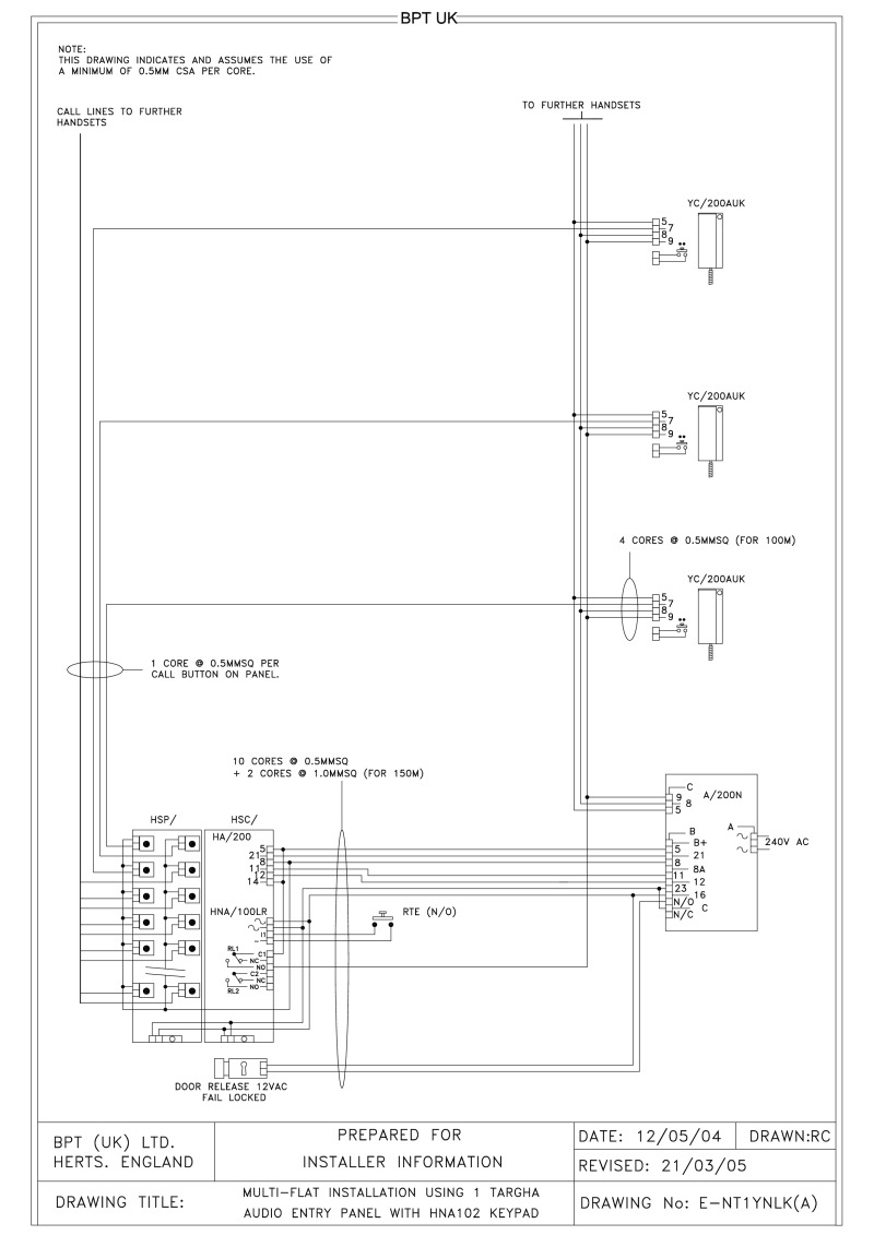 Bpt Wiring Diagrams System 200 Handset Diagram 1 X Multi Button Targha Audio Entry Panel With Hna102 Keypad