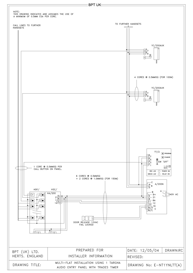 bpt wiring diagrams - system 200 on