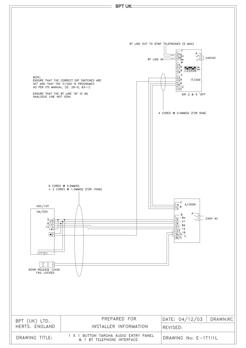 Bpt Wiring Diagrams System 200 240v Rims Diagram 1 X Button Targha Audio Entry Panel Bt Telephone Interface