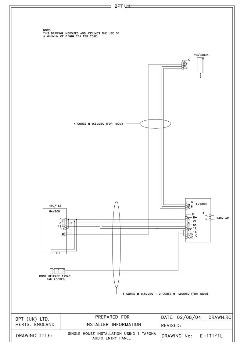 Bpt Wiring Diagrams System 200 Evo X Stereo Diagram 1 Button Targha Audio Entry Panel Handset